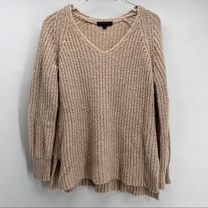 NWOT Sanctuary Tan V Neck Sweater Size Large